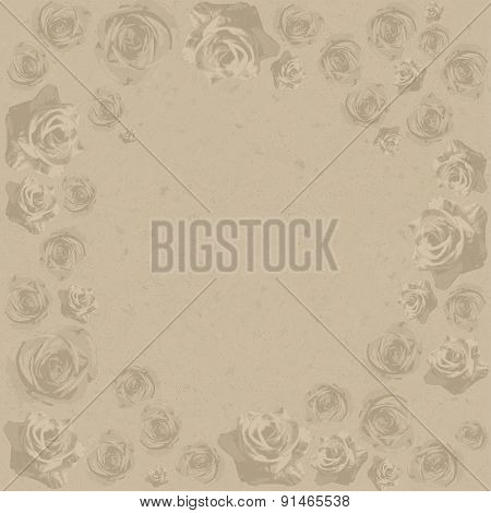 Drawn grunge flowers over canvas texture. Vector illustration