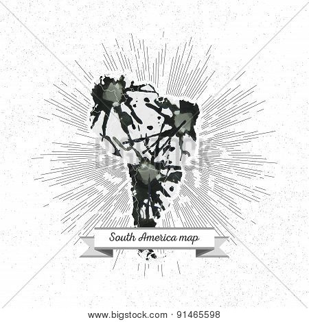 South america map with vintage style star burst, black watercolor background, retro element for your