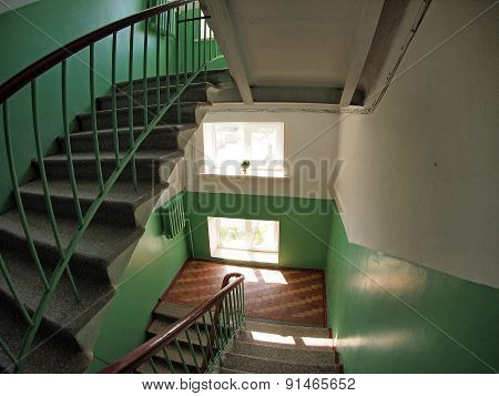 Staircase Between Floors In High-rise Building