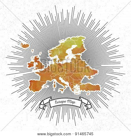 Europe map with vintage style star burst, yellow watercolor background, retro element for your desig