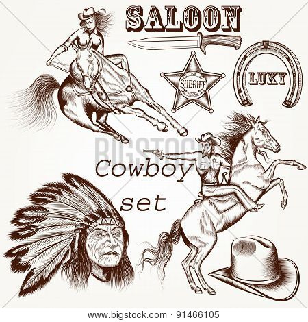 Cowboy Vector Set West Cowboy, Indian And Sheriff Star