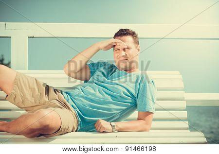 Handsome Man Tourist On Pier. Fashion Summer.