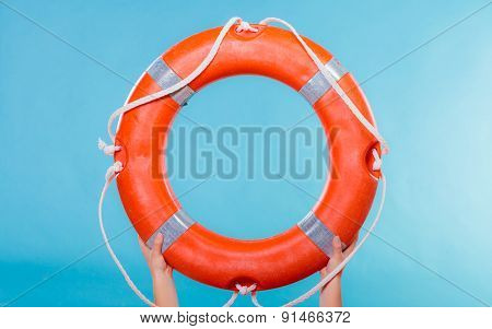 Life Buoy Ring In Female Hands