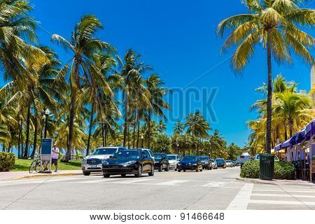 MIAMI, USA - CIRCA MAY 2015: The famous Ocean Drive Avenue in Miami Beach, USA.