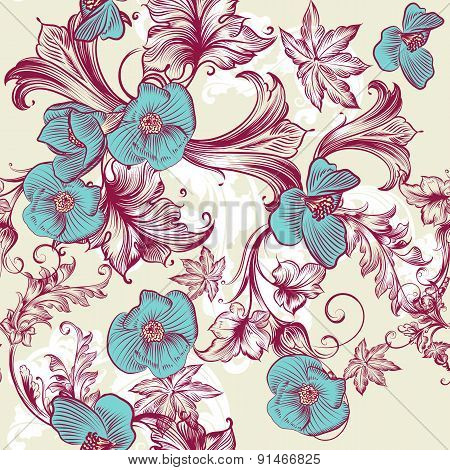 Floral Vintage Pattern With Flowers And Ornament
