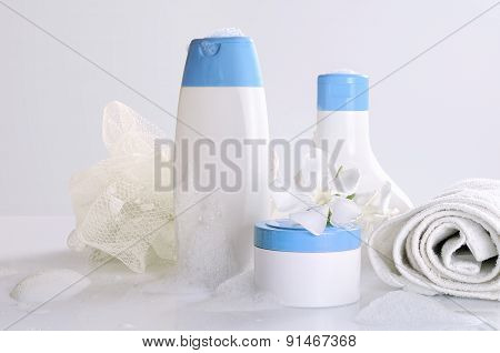 Body Care And Beauty Products Front View With Foam Isolated