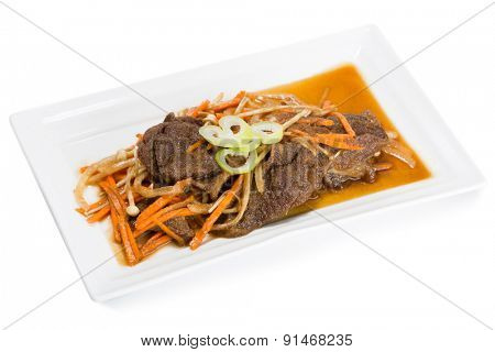 Stir-fried beef with carrots, mushrooms and onions. From a series of Food Korean cuisine.