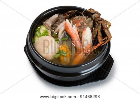 Hae-mul-tang soup with assorted seafood & vegatable. From a series of Food Korean cuisine.