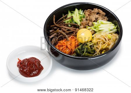 Bibimbap dish of meat, rice, vegetables and egg. From a series of Food Korean cuisine.