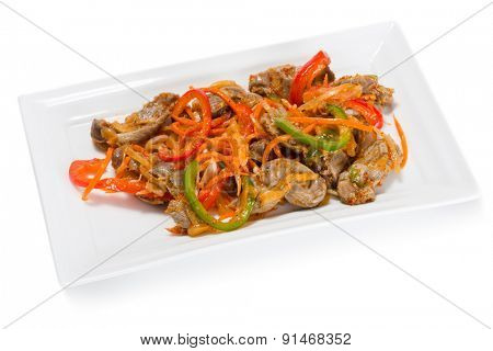 Salad of chicken gizzards, red and green sweet peppers and spices. From a series of Food Korean cuisine.