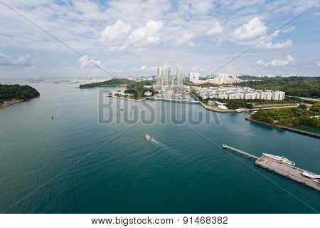 View of the strait separating the island of Sentosa and Singapore with bird's-eye view.