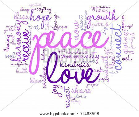 Peace Heart Shaped Word Cloud