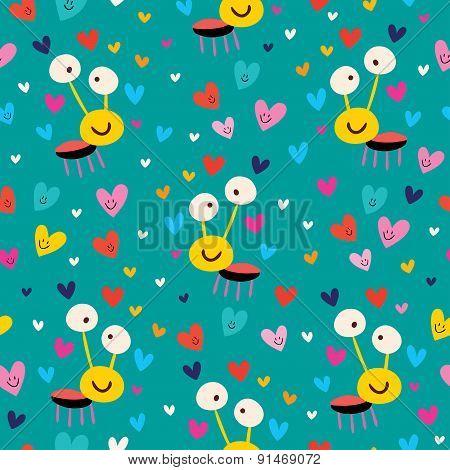 Love bug seamless pattern