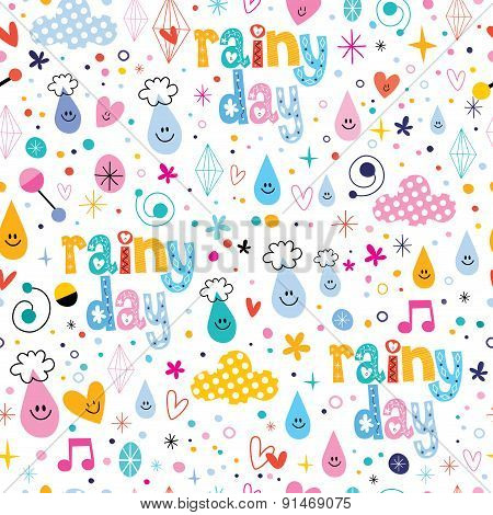 rainy day fun characters cartoon seamless pattern