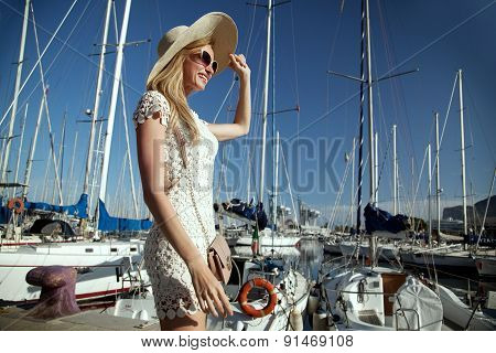 Smiling Blonde Lady On Vacation.