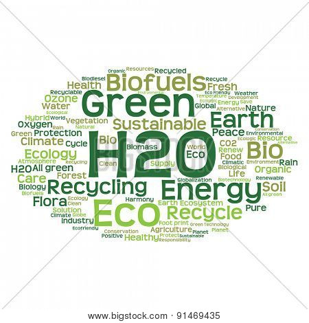 High resolution concept or conceptual abstract green ecology and conservation word cloud text on white background