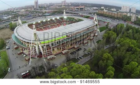 RUSSIA, MOSCOW - 28 APR, 2014: Aerial view of the Lokomotiv football stadium.