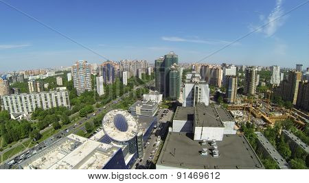 RUSSIA, MOSCOW - 16 MAY, 2014: Aerial view of cityscape shopping mall Rio and many different buildings.