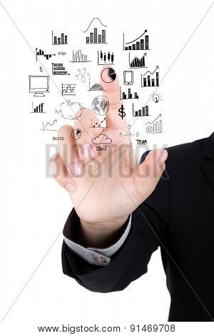 Businessman hand drawing business concept isolated on white background