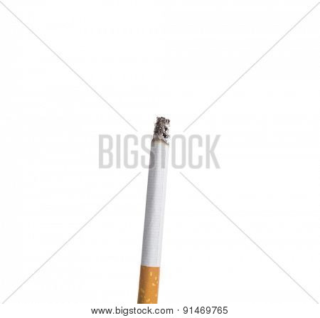 Cigarette burning isolated on white background