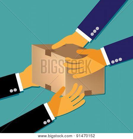 Team, work, flat, concept, vector
