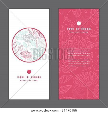 Vector modern line art florals vertical round frame pattern invitation greeting cards set