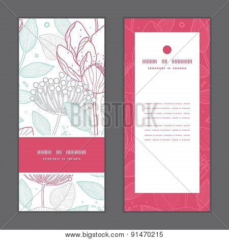 Vector modern line art florals vertical frame pattern invitation greeting cards set