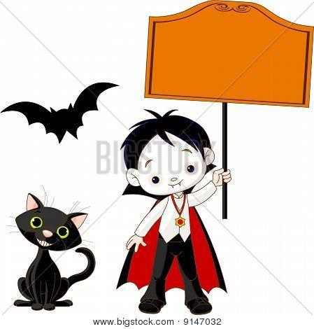 Dracula Boy Holding Blank Sign
