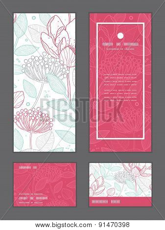 Vector modern line art florals vertical frame pattern invitation greeting, RSVP and thank you cards