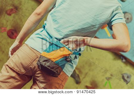 Climber Woman With Bag Of Magnesia