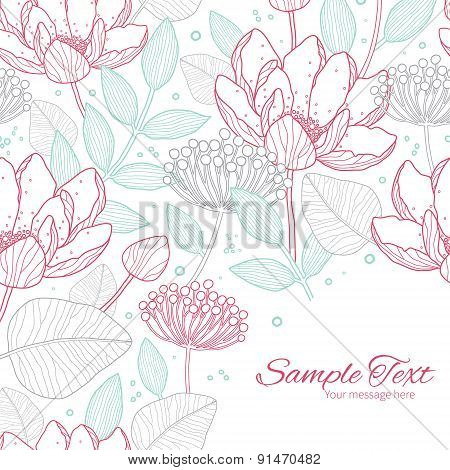 Vector modern line art florals frame corner pattern background