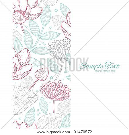 Vector modern line art florals vertical frame seamless pattern background
