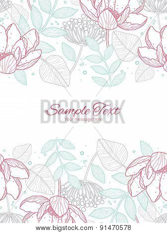 Vector modern line art florals vertical double borders frame invitation template