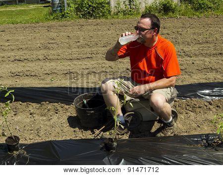 Organic Farmer Taking A Water Break