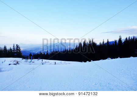 Wonderful view of mountains with blue sky