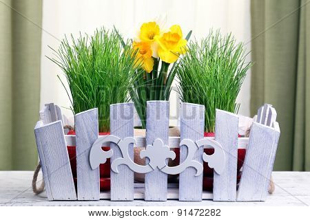beautiful flowers with green grass in pots on fabric background