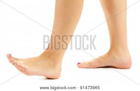 Beautiful female legs, isolated on white background