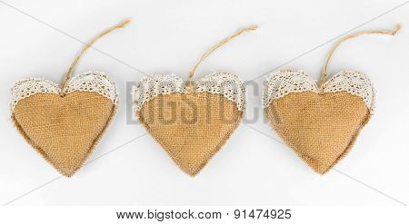 Vintage hearts isolated on white