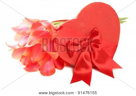 Heart shaped Valentines Day gift box with tulips, isolated on white
