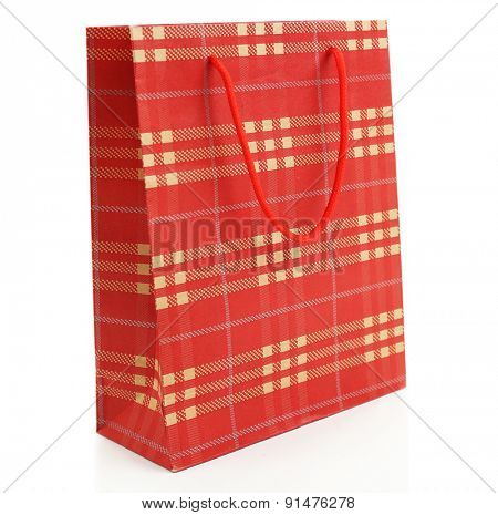 Checkered shopping paper bags isolated on white