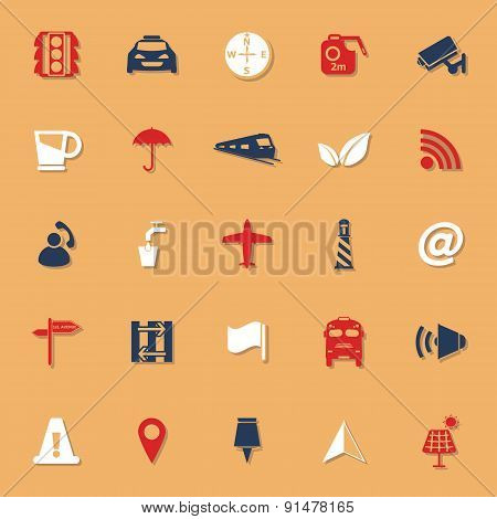 Map Sign Classic Color Icons With Shadow