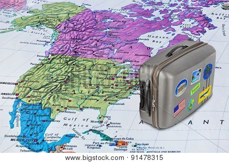 America map and case with stickers (my photos) - travel background