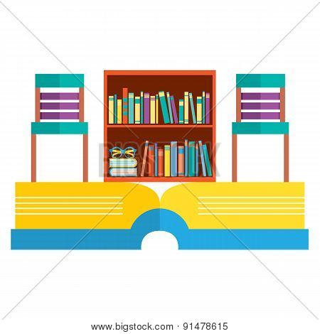 Colorful Chairs And Bookcase On Huge Book.