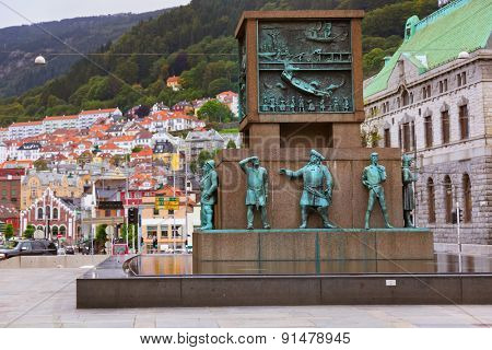 Monument in memory of sailors from viking times to the 20th century - Bergen Norway