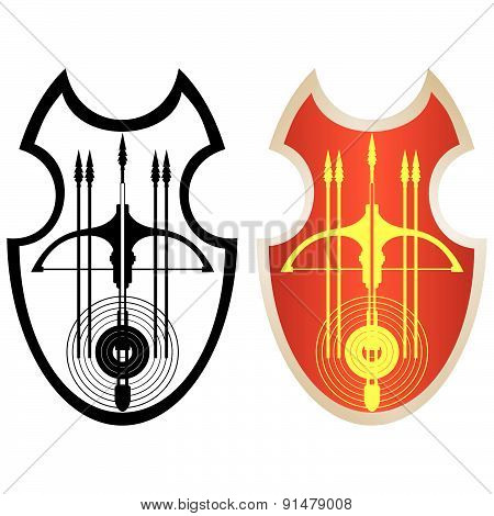 Shield, crossbow and arrows-1