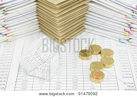 Bankruptcy Of House And Pile Gold Coins As Question Mark