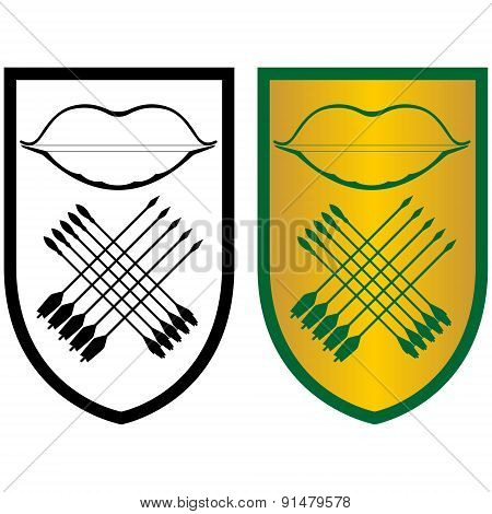 Shield, Bow And Arrows