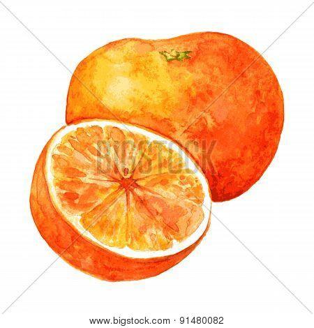 whole orange and half
