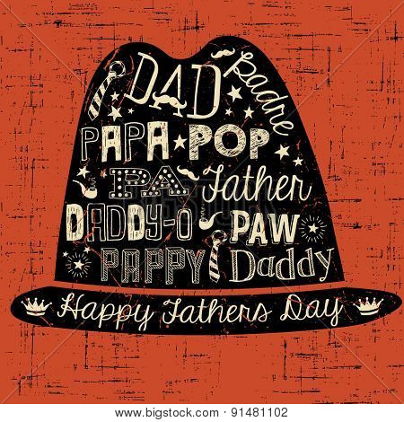 Happy Fathers Day hand drawn typography hat illustration greeting card vector
