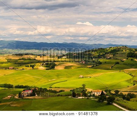 view of Pienza, province of Siena, Val d'Orcia in Tuscany, Italy